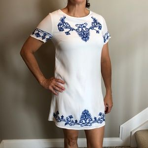 Lulu's embroidered blue and white sheath dress